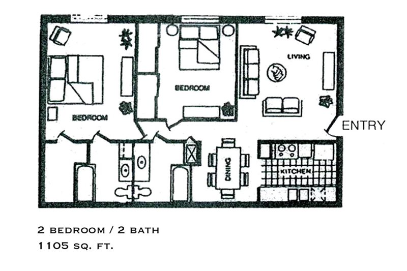 1,105 sq. ft. floor plan