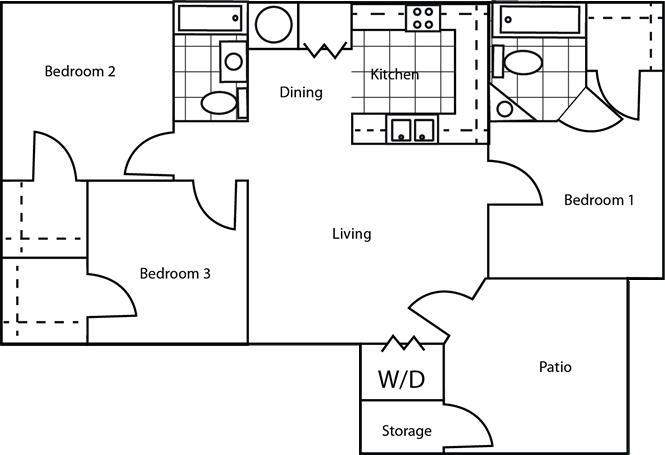 1,200 sq. ft. 60% floor plan