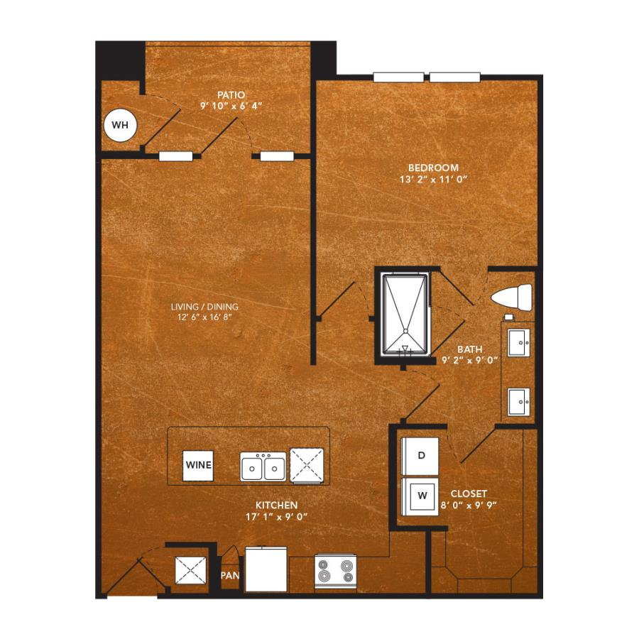 762 sq. ft. A6D floor plan