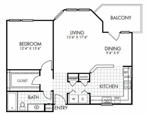 874 sq. ft. A3 floor plan
