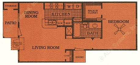 696 sq. ft. B w/FP floor plan