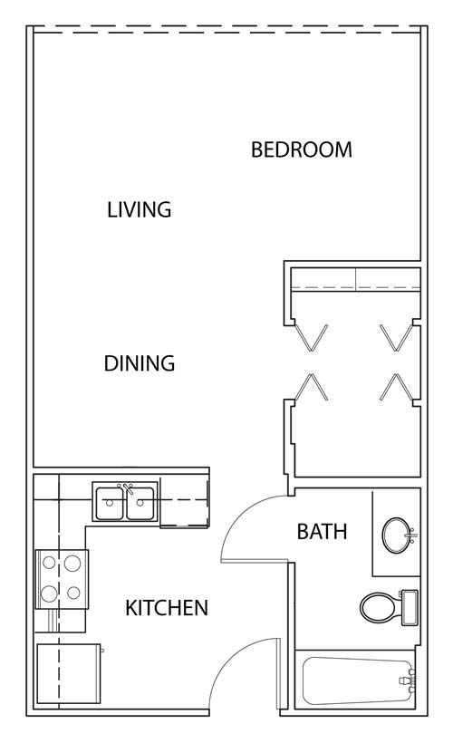 497 sq. ft. E13 floor plan