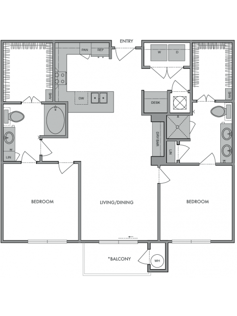 1,120 sq. ft. B1 floor plan