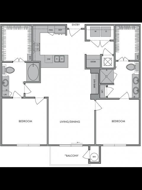 1,120 sq. ft. E floor plan