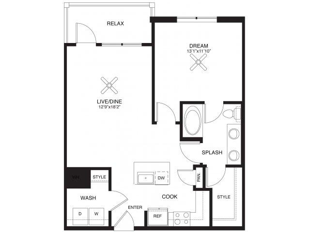 805 sq. ft. Lubbock floor plan