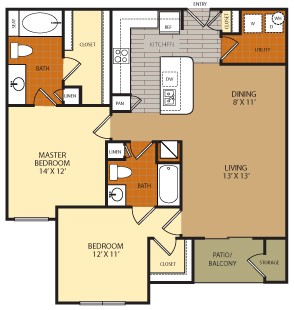 1,133 sq. ft. B1 floor plan