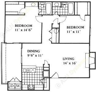 1,033 sq. ft. D floor plan