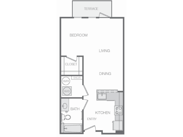 576 sq. ft. B floor plan