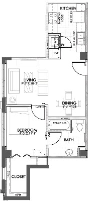 595 sq. ft. Belnap floor plan