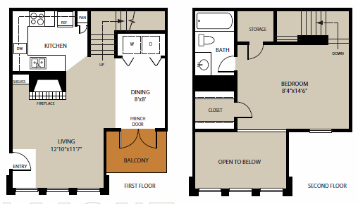 742 sq. ft. Belmont floor plan