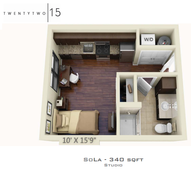 340 sq. ft. SOLA floor plan