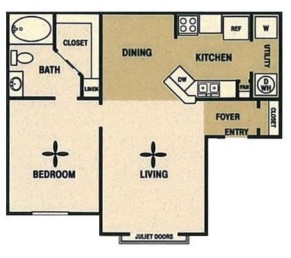 723 sq. ft. A floor plan
