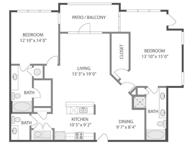 1,463 sq. ft. C8A floor plan