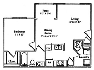 637 sq. ft. Patio floor plan