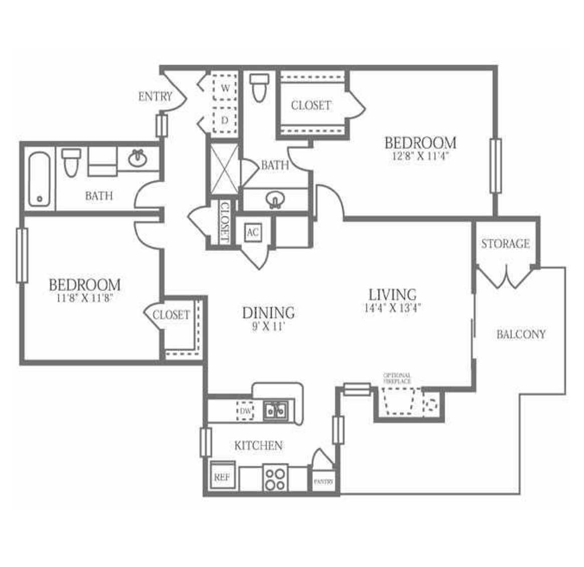 1,080 sq. ft. B4 floor plan