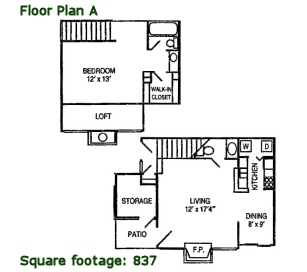 837 sq. ft. A floor plan