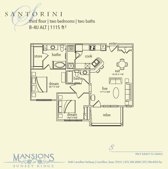 1,115 sq. ft. Santorini floor plan