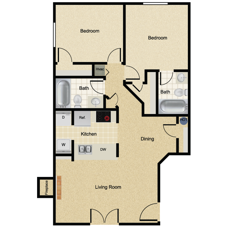 950 sq. ft. La Buena floor plan