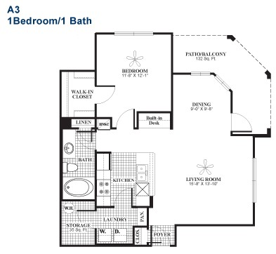 801 sq. ft. A3 floor plan