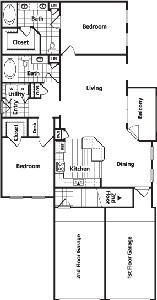 1,271 sq. ft. EG1 floor plan
