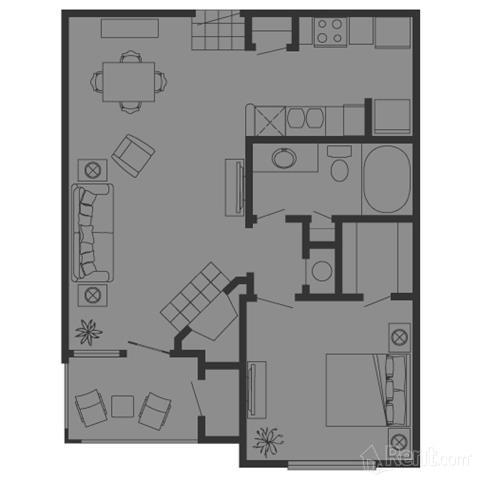 678 sq. ft. A floor plan