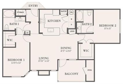 1,188 sq. ft. Vicksburg floor plan