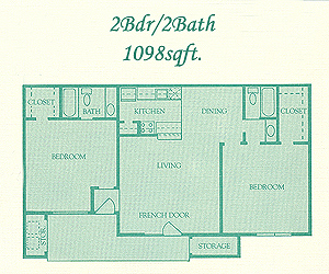 1,098 sq. ft. Berkshire floor plan