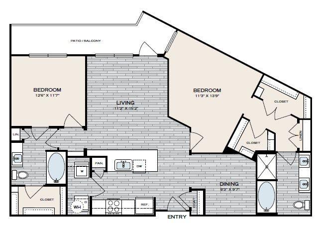1,249 sq. ft. B5 floor plan
