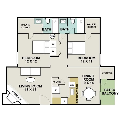 1,051 sq. ft. B1/Big Bend floor plan