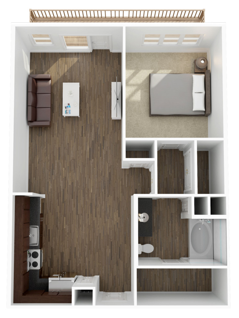 782 sq. ft. A4 floor plan