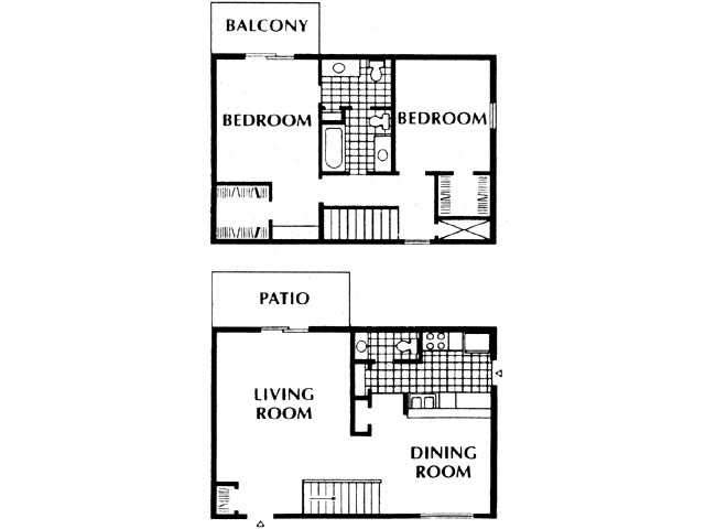 1,194 sq. ft. B5 floor plan