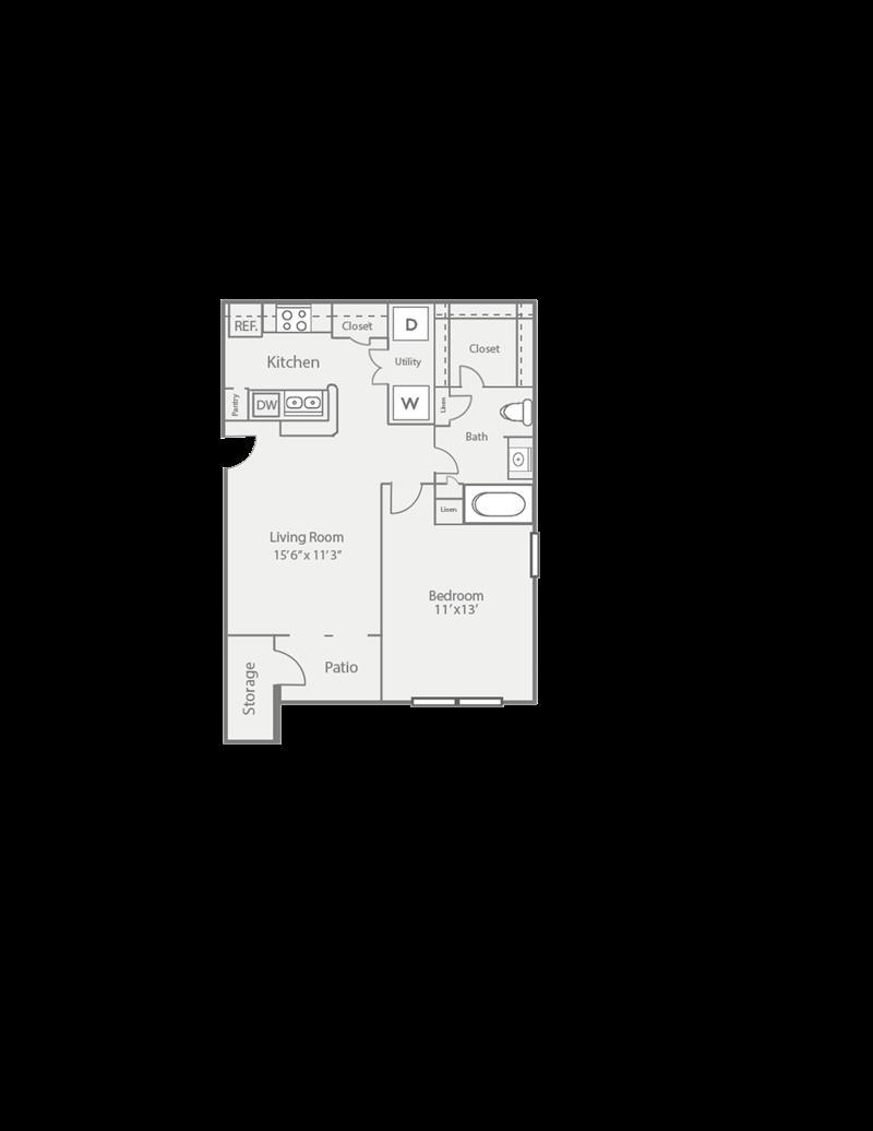 632 sq. ft. A1/Pine floor plan