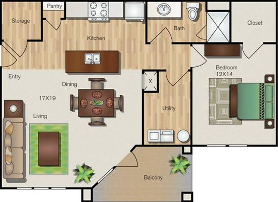 854 sq. ft. A3 floor plan