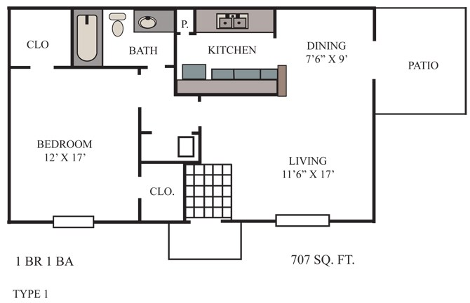 707 sq. ft. Bastrop floor plan