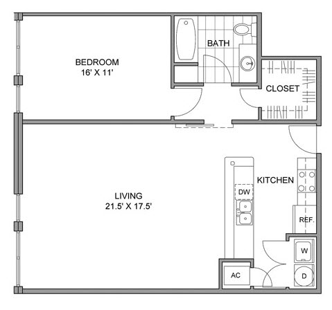 908 sq. ft. B floor plan