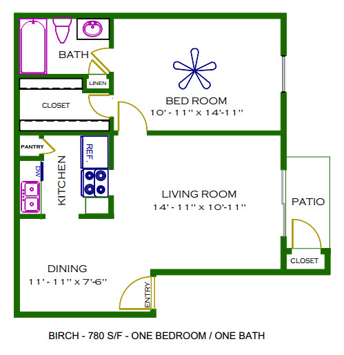 780 sq. ft. Birch floor plan