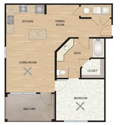 668 sq. ft. A4/Lantana ADA floor plan
