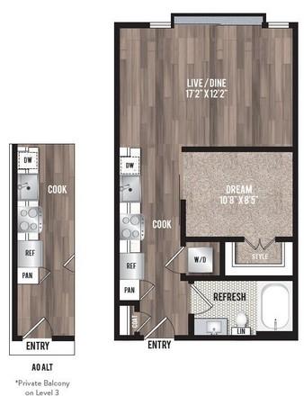 558 sq. ft. A0.2(Imtown) floor plan
