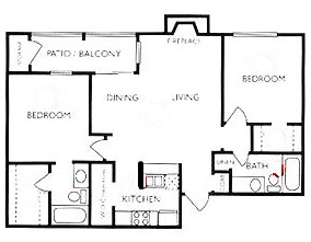 909 sq. ft. B2 floor plan
