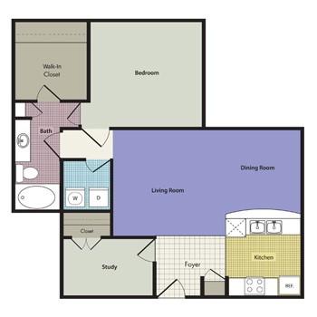 913 sq. ft. Sicilia floor plan
