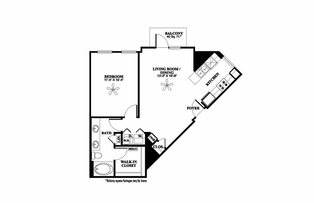 811 sq. ft. A2.2 floor plan