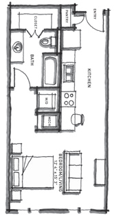 523 sq. ft. E1 floor plan
