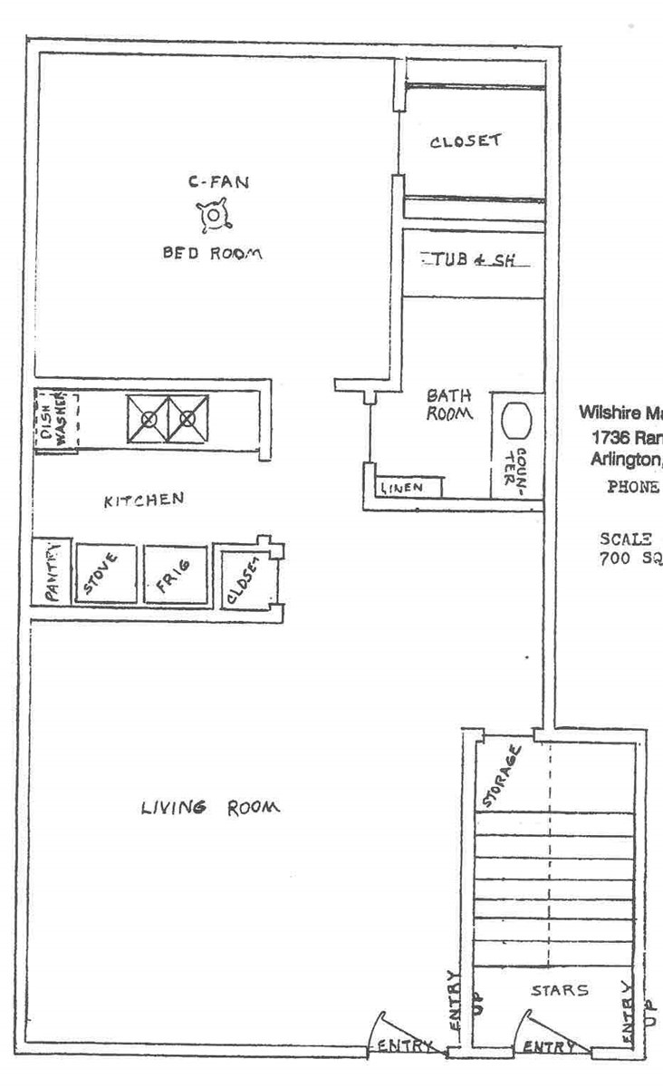 700 sq. ft. ABP floor plan