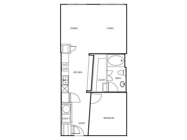 780 sq. ft. A2-E floor plan