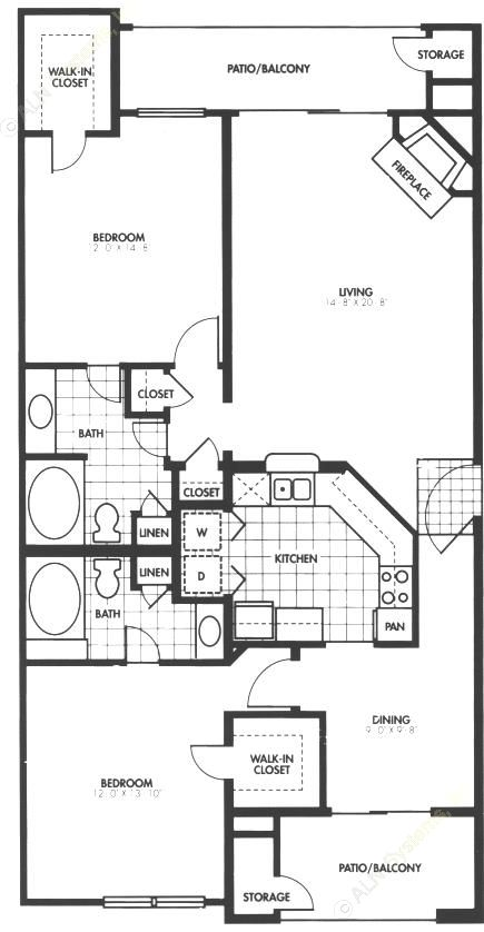 1,263 sq. ft. B3 floor plan