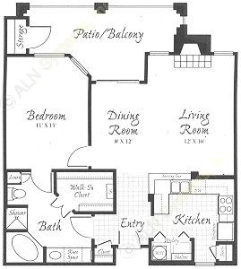 902 sq. ft. A1 floor plan