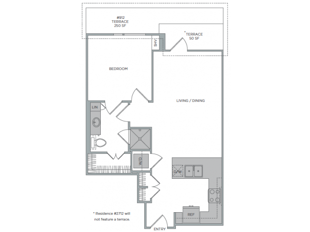 777 sq. ft. 1H floor plan
