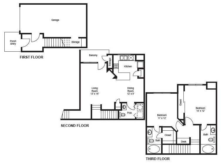 1,297 sq. ft. B1-Garage floor plan