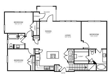 1,377 sq. ft. C1 floor plan