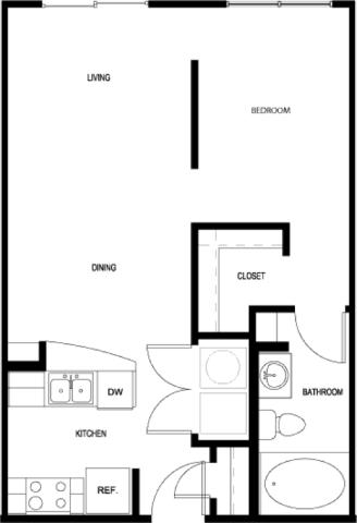 586 sq. ft. E1-2 floor plan